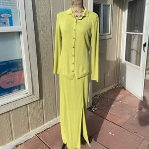 Double D Ranch Wear lime Green top and skirt set
